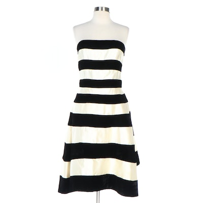 Victor Costa Velvet and Satin Striped Strapless Cocktail Dress