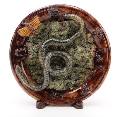 Manuel Mafra Palissy Ware Wall Plate with Snakes, Frogs, and Insects, 19th C.