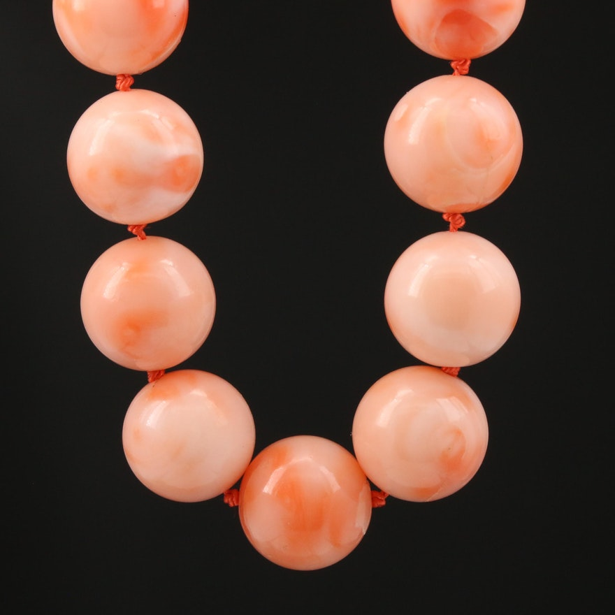 Coral Bead Necklace with Sterling Silver Clasp