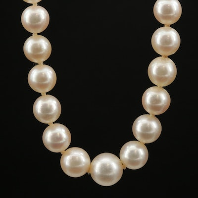 Graduated Pearl Necklace with 14K and Sterling Silver Clasp