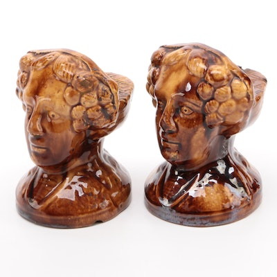 Pair of English Treacle Glaze Female Bust Window Sash Stops, Mid-19th Century