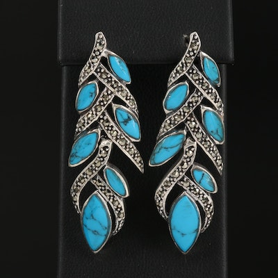Sterling Silver Turquoise and Marcasite Dangle Earrings