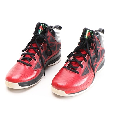 Men's Adidas Crazy Fast Red and Black Mid-Top Basketball Shoes