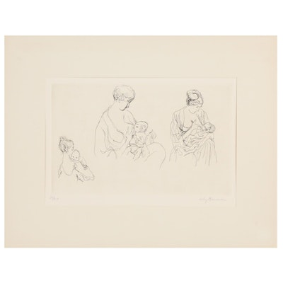 """Lily Harmon Etching """"First Born,"""" 20th Century"""