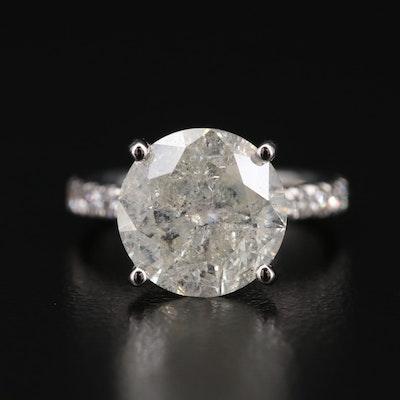 14K Diamond Ring with 4.05 CT Round Brilliant Cut Center