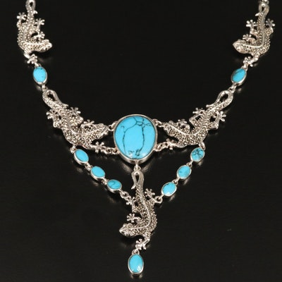 Sterling Silver Turquoise and Marcasite Lizard Necklace