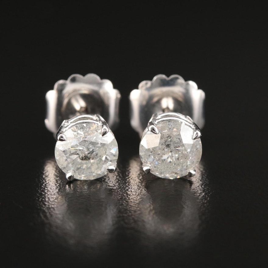 14K 3.38 CTW Diamond Solitaire Stud Earrings