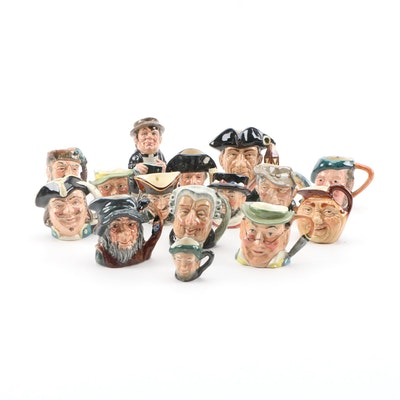 Miniature Ceramic Character Jugs Including Royal Doulton and Kelsboro Ware