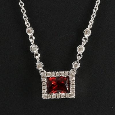 14K Garnet and Diamond Necklace
