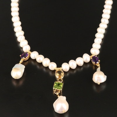 Sterling Pearl, Amethyst, Citrine and Glass Necklace