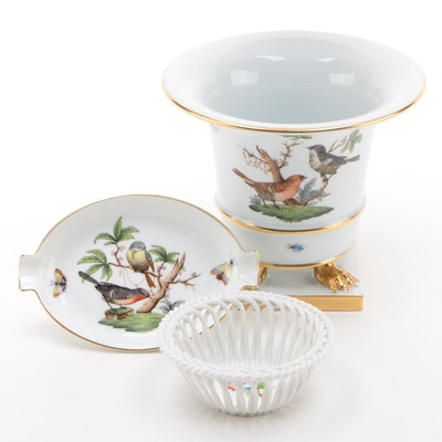 """Herend """"Rothschild Bird"""" Vase and Ashtray with """"Queen Victoria"""" Open Weave Bowl"""