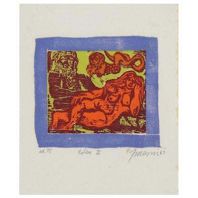 """Colored Wood Block Print """"Eden II,"""" 1967"""