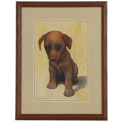 Oil Painting of a Brown Dog