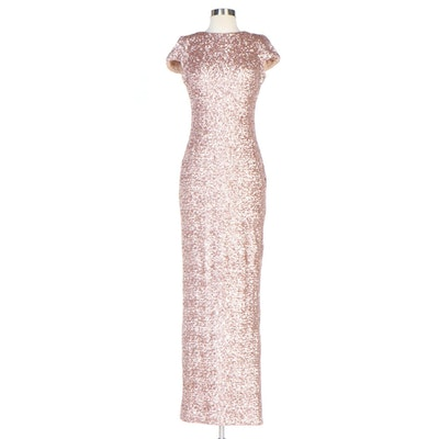 Dress The Population Pink Sequined Evening Gown