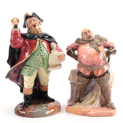 "Royal Doulton ""Town Crier"" and ""Falstaff"" Ceramic Figurines, Mid to Late 20th C."