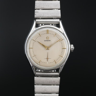 1954 Omega Stainless Steel Stem Wind Wristwatch