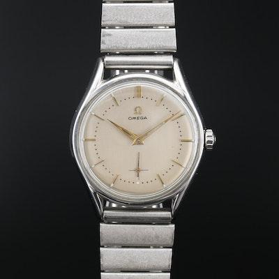 1954 Omega Stainless Steel Stem Wind Wristwatch