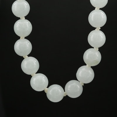 Knotted Jadeite Necklace with 14K Gold Clasp