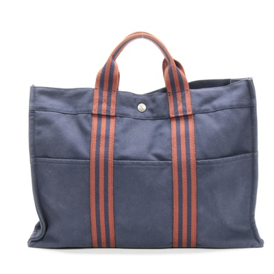 Hermès Deauville Canvas MM Tote Bag in Navy Blue/Rust