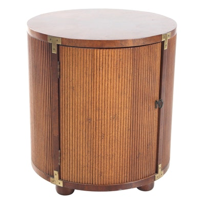 Tambour Style Pecan Cylindrical End Table, Mid-20th Century
