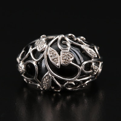Sterling Black Onyx and Diamond Foliate Ring