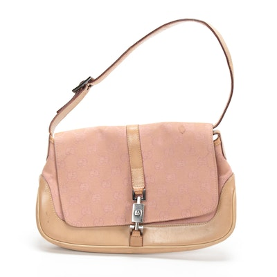 Gucci Shoulder Bag in Blush GG Monogram Canvas and Nude Leather
