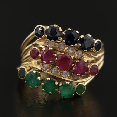14K Ruby, Emerald, and Sapphire Harem Ring