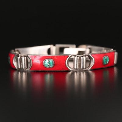 1970s Gucci Sterling Silver Enamel Logo Bracelet