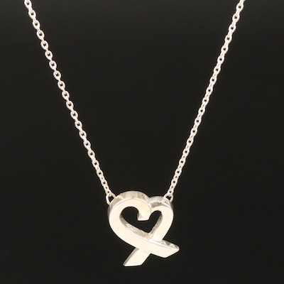 "Paloma Picasso for Tiffany & Co Sterling ""Loving Heart"" Necklace"