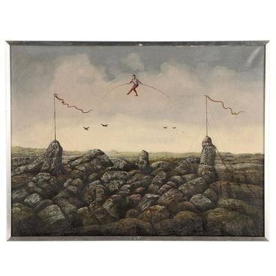 Ab van Overdam Oil Painting of Tightrope Walker over Rocky Shore, 1972