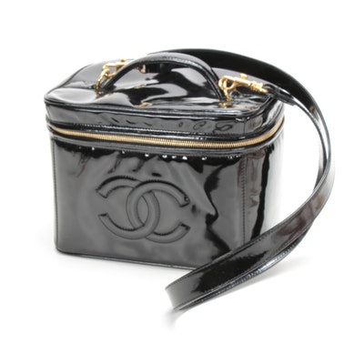 Chanel Vanity Train Case in Black Patent Leather