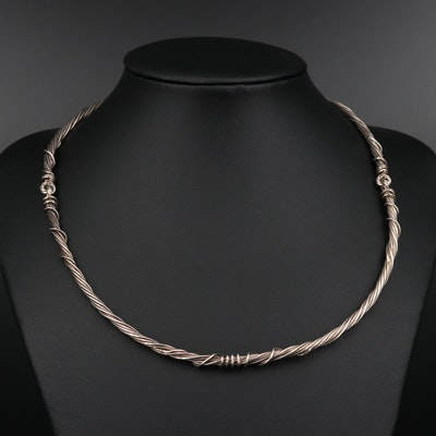 Sterling Twisted Wire Three Piece Collar