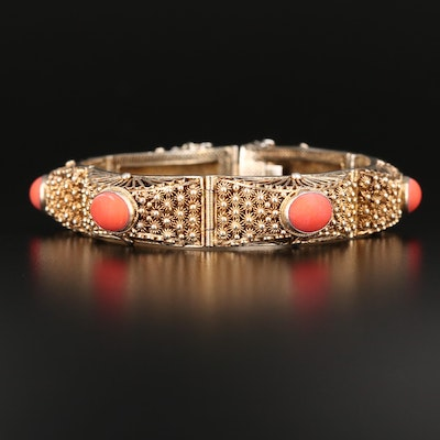 Sterling Panel Bracelet with Oval Coral Cabochon Accents