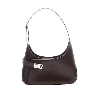 Salvatore Ferragamo Gancini Shoulder Bag in Espresso Leather