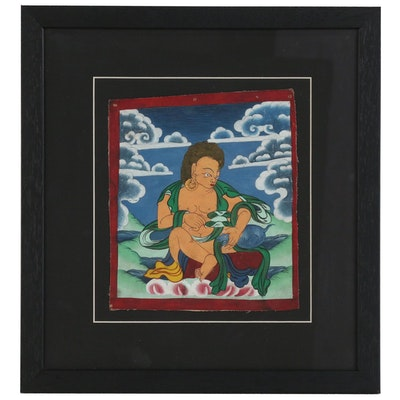 Tibetan Gouache Painting of Buddhist Figure