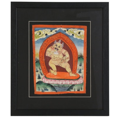 Tibetan Buddhist Gouache Painting of Yellow Jambhala