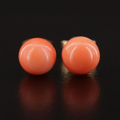 Vintage 14K and Coral Stud Earrings