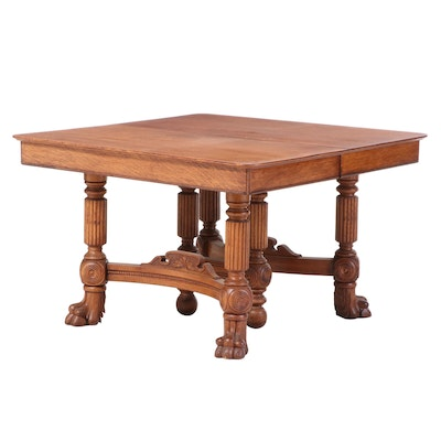 Late Victorian Oak Dining Table, Late 19th to Early 20th Century