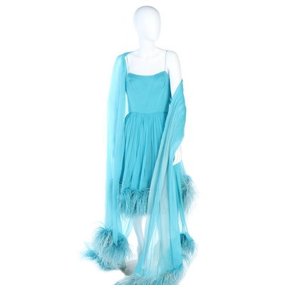 Roban by Dorothy Litzan Blue Silk Chiffon and Feathered Occasion Dress with Wrap