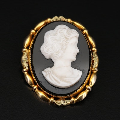 Antique A.L. Lindroth Cameo Brooch