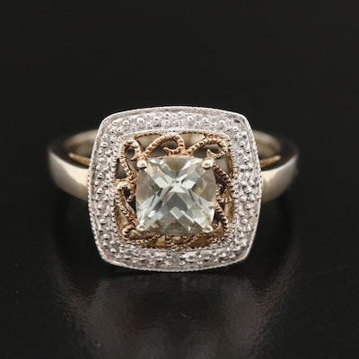 Sterling Prasiolite and Diamond Halo Ring