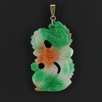Carved Jadeite Dragon Pendant With 14K Bail