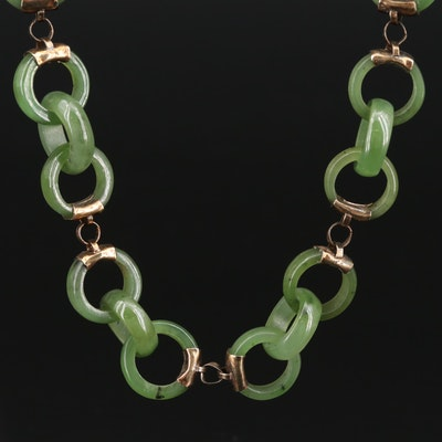 Nephrite Fancy Link Necklace