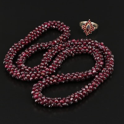 800 Silver Garnet Ring and Rhodolite Garnet Endless Necklace