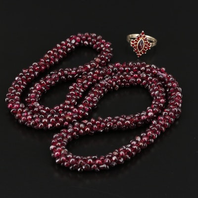 800 Silver Garnet Ring and Rhodolite Garnet Endless Necklace