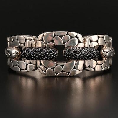 "John Hardy ""Kali Lava"" Sterling Silver Sapphire Hinged Cuff Bracelet"