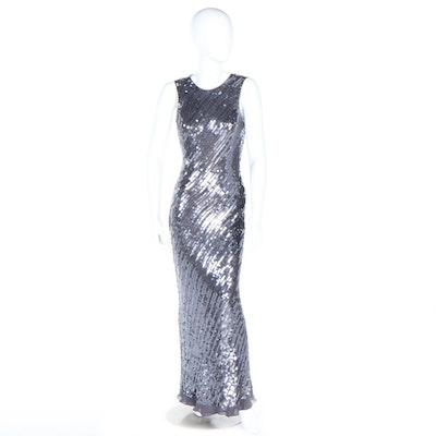 Jovani New York Sequined Silk Sleeveless Maxi Evening Gown