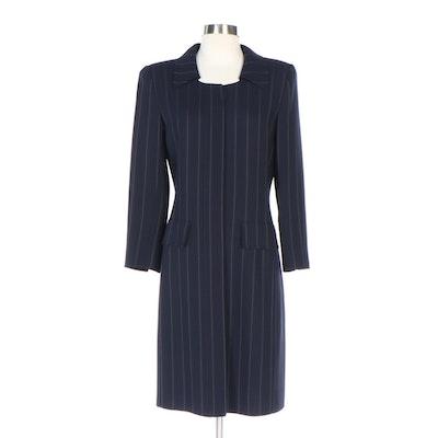 Oscar de la Renta Striped Wool Coat Dress from Neiman-Marcus