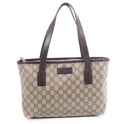 Gucci Tote in GG Supreme Canvas and Brown Textured Leather