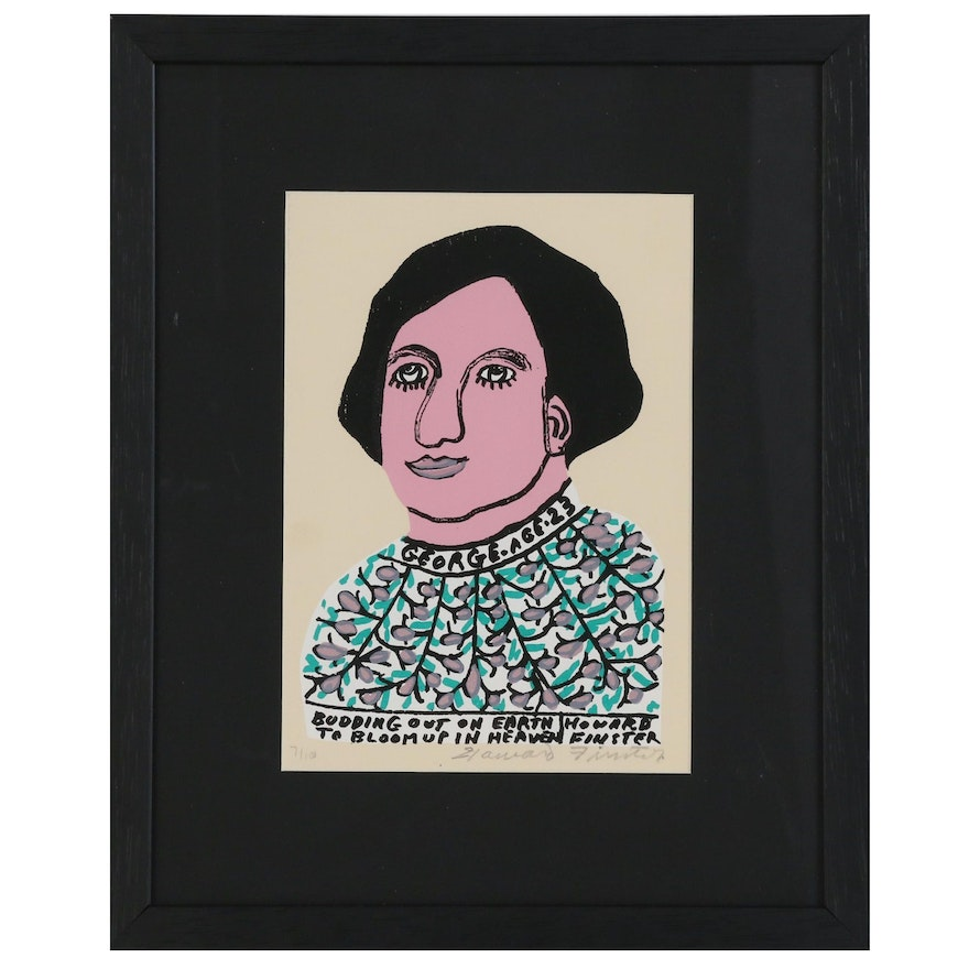 """Howard Finster Serigraph """"Budding Out on Earth to Bloom Up in Heaven"""""""